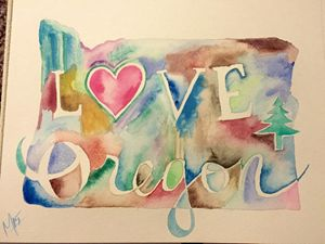 Love Oregon watercolor