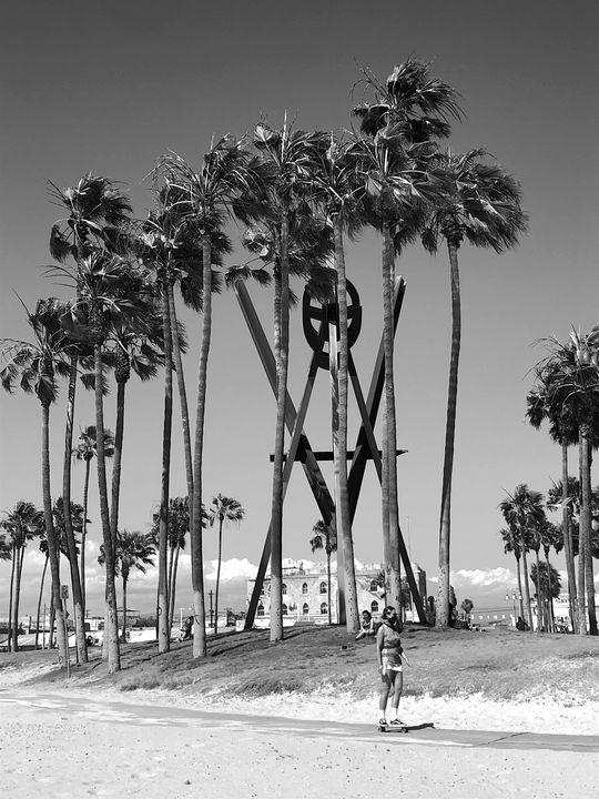 Venice Boardwalk Skater in B&W - Jon Moore