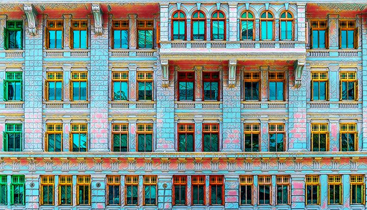 Colorful building facade - World Prints Studio