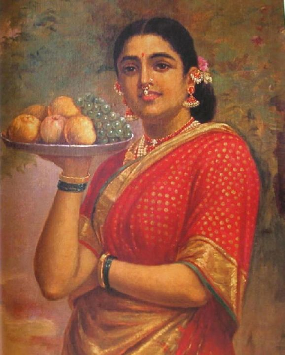 Girl with the fruits - IndianPaintings