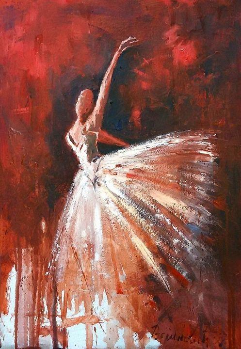 Balerina , oil on cardboard, sold - Radovan Vojinovic-art
