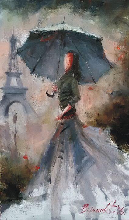 Girl in Paris, oil, sold - Radovan Vojinovic-art