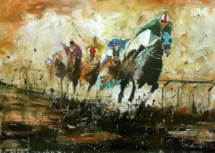 horse race, oil on cardboard, sold - Radovan Vojinovic-art