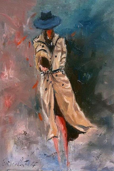 woman in coat, oil on cardboard, sol - Radovan Vojinovic-art