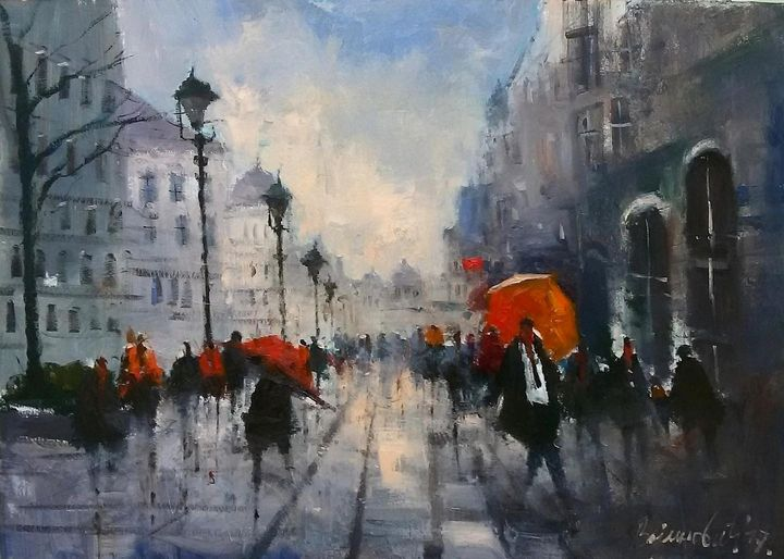 Rainy city, oil on canvas, sold - Radovan Vojinovic-art
