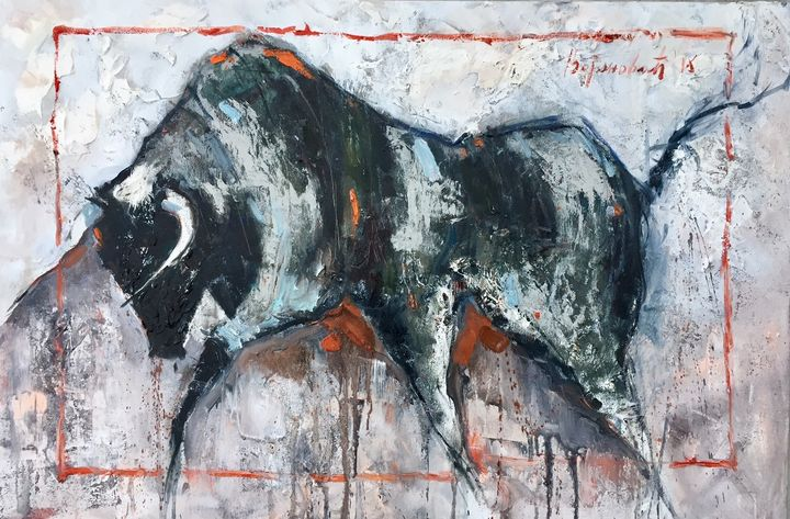 Bull with red, oil on canvas,sold - Radovan Vojinovic-art