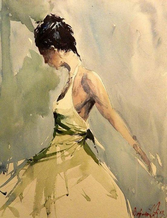 woman,  watercolor - Radovan Vojinovic-art