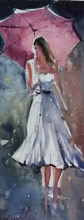 woman with umbrella,watercolor, sold - Radovan Vojinovic-art