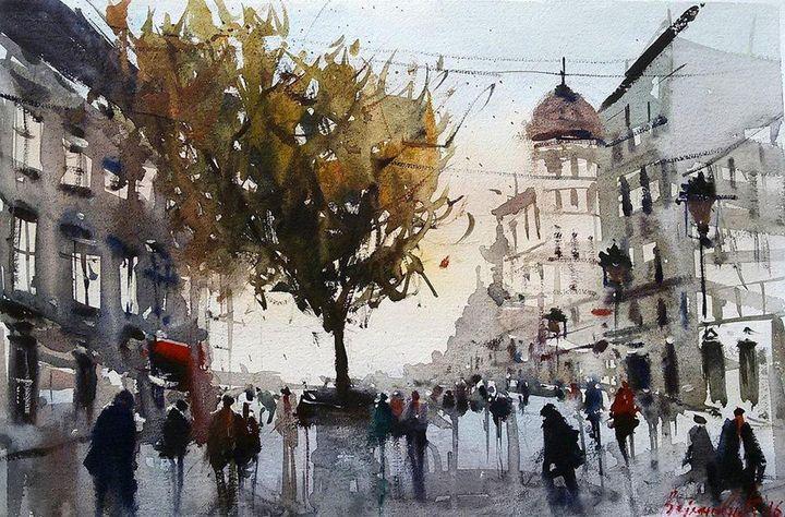 City in autumn, ,watercolor, sold - Radovan Vojinovic-art
