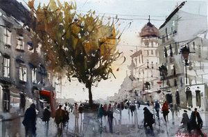 City in autumn, ,watercolor, sold