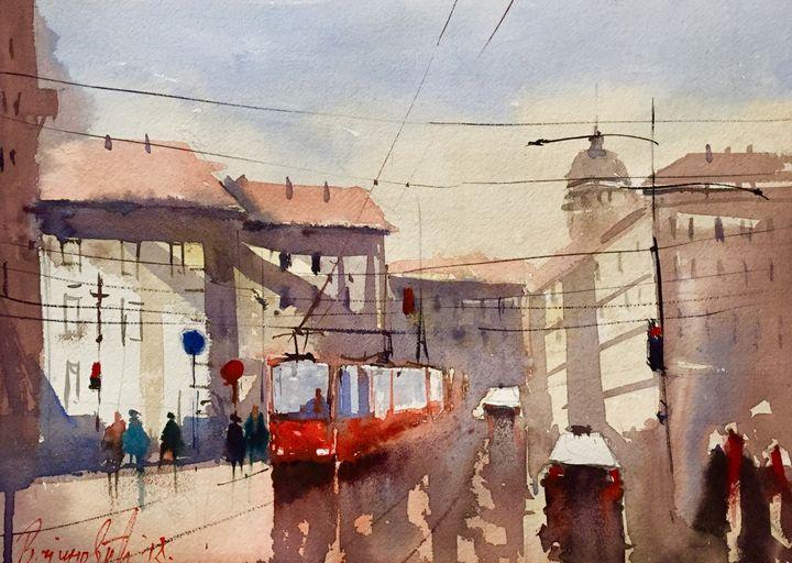 City, watercolor,sold - Radovan Vojinovic-art