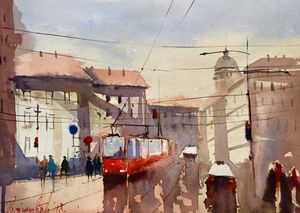 City, watercolor,sold