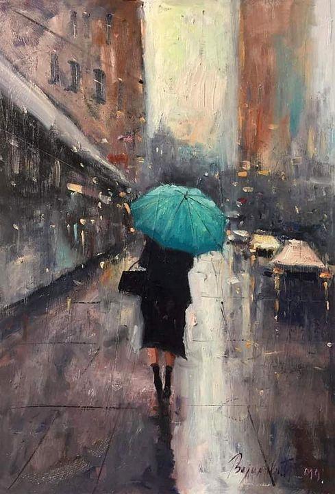 Woman walking, oil on panel, sold - Radovan Vojinovic-art
