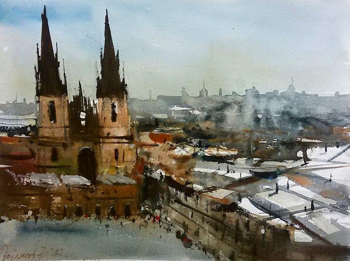Prague, watercolor,sold - Radovan Vojinovic-art