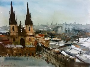Prague, watercolor,sold