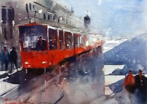 Red train , watercolor, sold