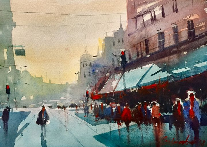 City, watercolor, sold - Radovan Vojinovic-art