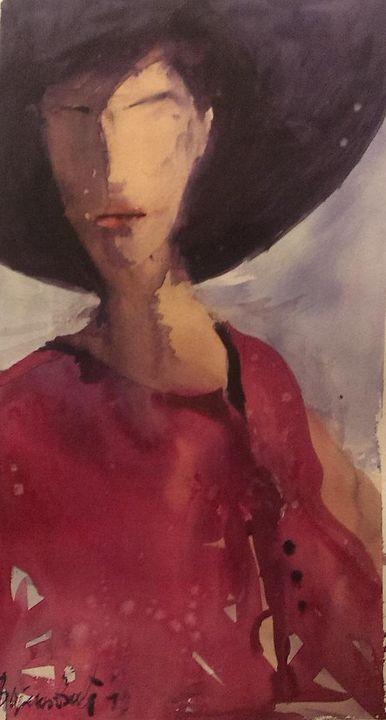 Woman with hat, watercolor, sold - Radovan Vojinovic-art