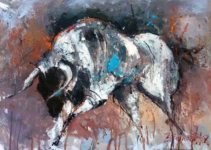 raging bull,  oil - Radovan Vojinovic-art