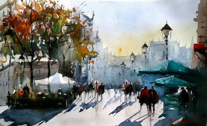 City walk,watercolor, sold - Radovan Vojinovic-art