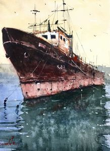 """Old ship"", original watercolor"