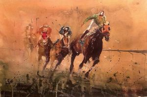 horce race, watercolor - Radovan Vojinovic-art