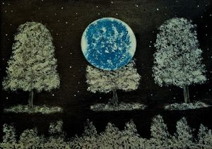 Moon Lit Blue Tree