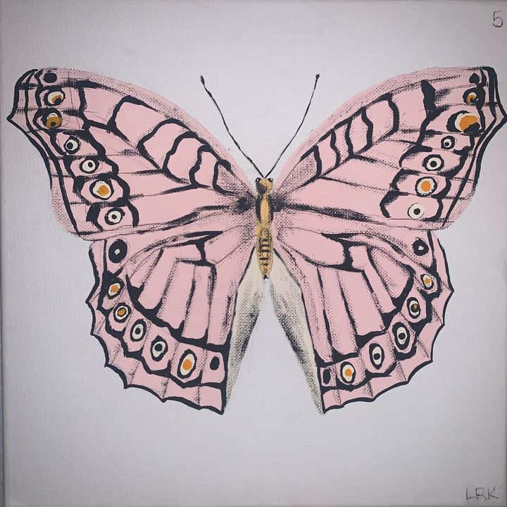 Pink and Orange Butterfly - art by lo