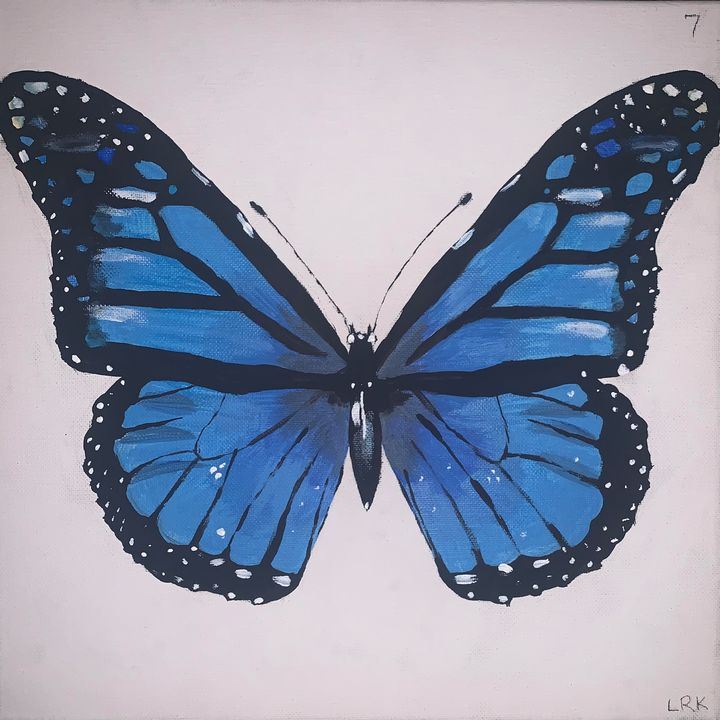 Blue Monarch Butterfly - art by lo