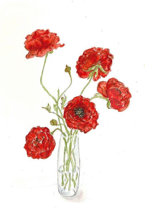 Red Ranunculas - Barbara E Wyeth