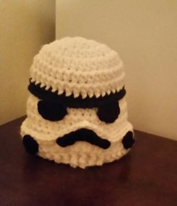 crocheted storm trooper inspired hat