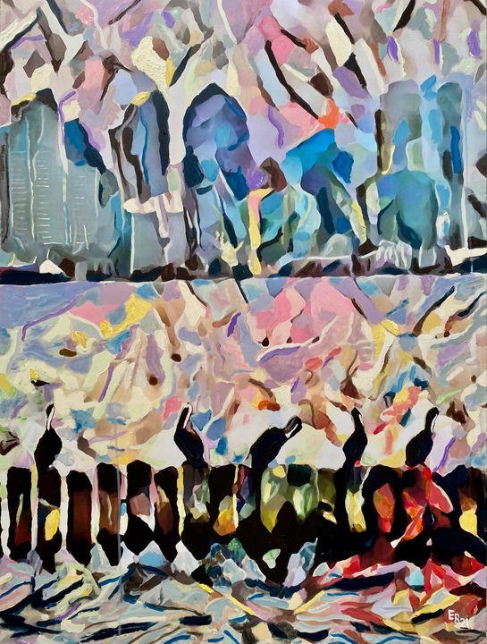 Five Pelicans - Ezra Bejar's Art Studio