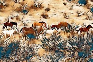 Fairy Wild Horses - Sunset Blossom Photography