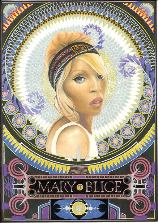 Portrait Mary Blige - UniqueCollectionBali,Russian,French&CelebrityPortr