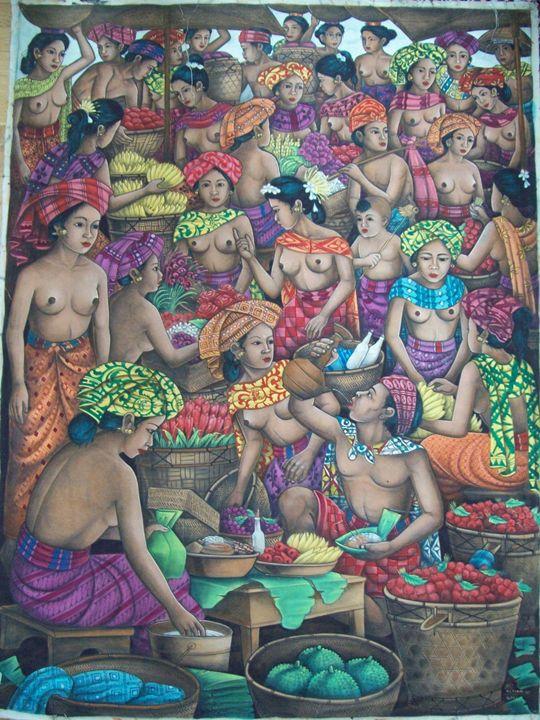 Bustling Bali Market Scene - UniqueCollectionBali,Russian,French&CelebrityPortr