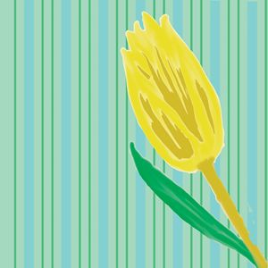 Decorative Yellow Tulip and Stripes