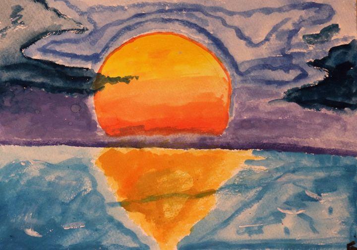 Sunset on the sea - EKH Drawing