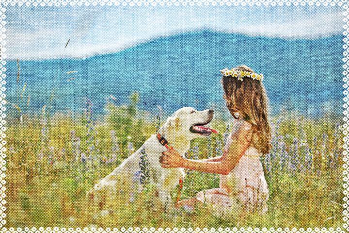 Девочка с собакой - Vensko Larisa
