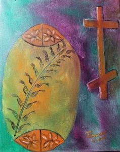 Ukrainian Easter Egg Wheat and Cross