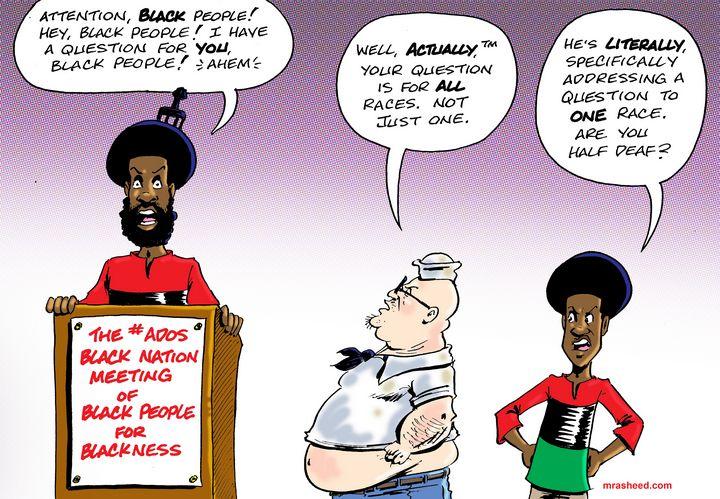 Demonstration of Toxic Whiteness - M. Rasheed Cartoons