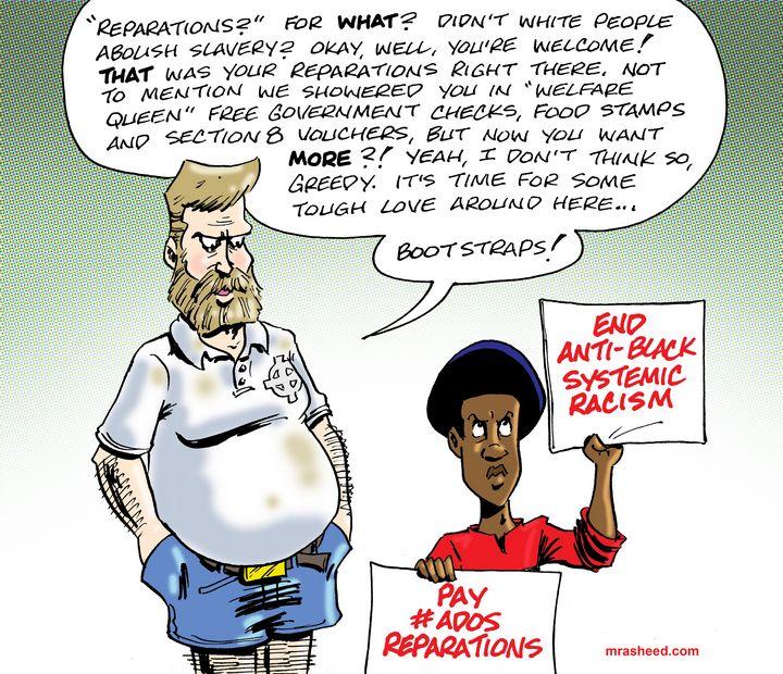 Argument Against Reparations, 2 of 3 - M. Rasheed Cartoons