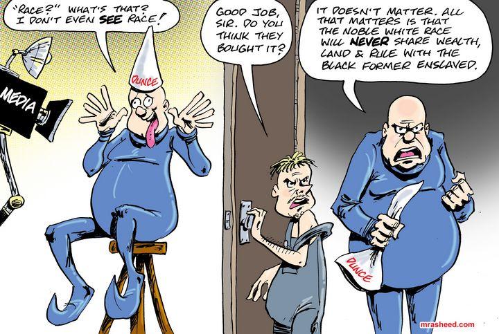Sneaky Tactics of the White Racist - M. Rasheed Cartoons