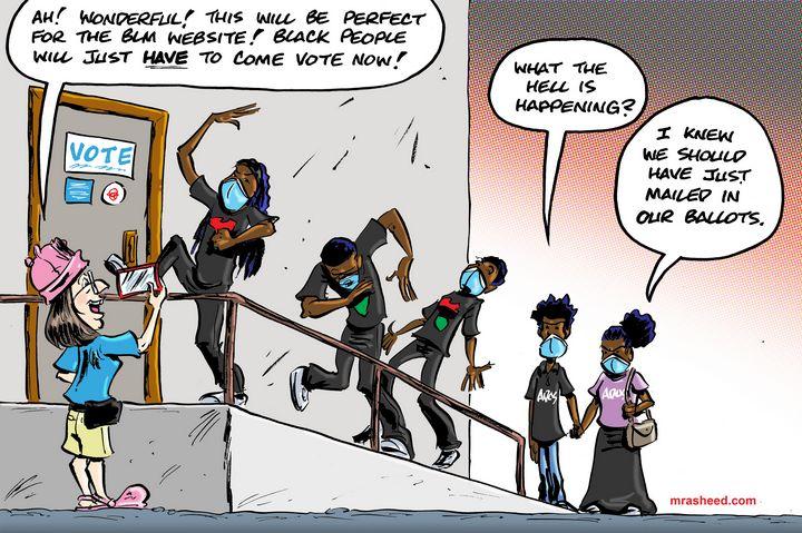 Drummin' Up the Blind Black Vote - M. Rasheed Cartoons