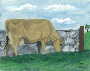 Jersey Cow by the Stone Wall