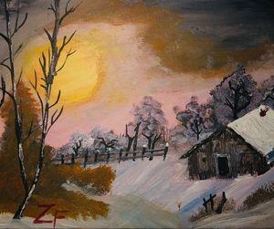 Cabin In Winter - ZF art
