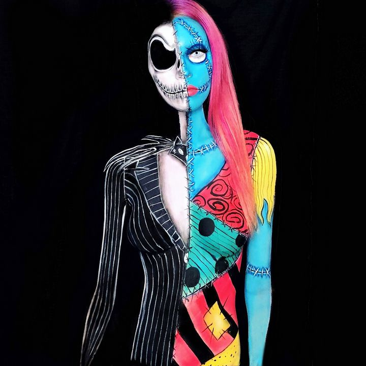 Jack and Sally - Katie Cole Body Painting