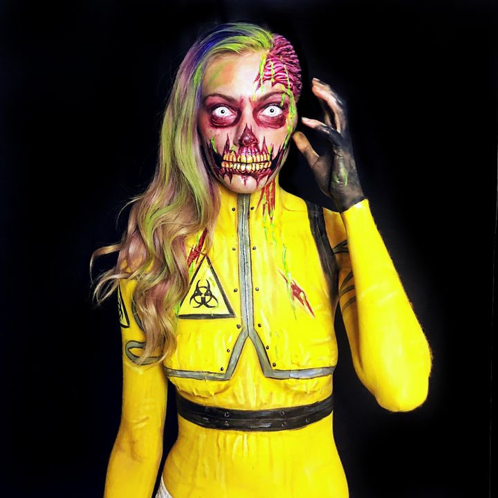 Radioactive Zombie - Katie Cole Body Painting