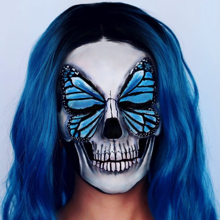 Blue Butterfly Skull - Katie Cole Body Painting