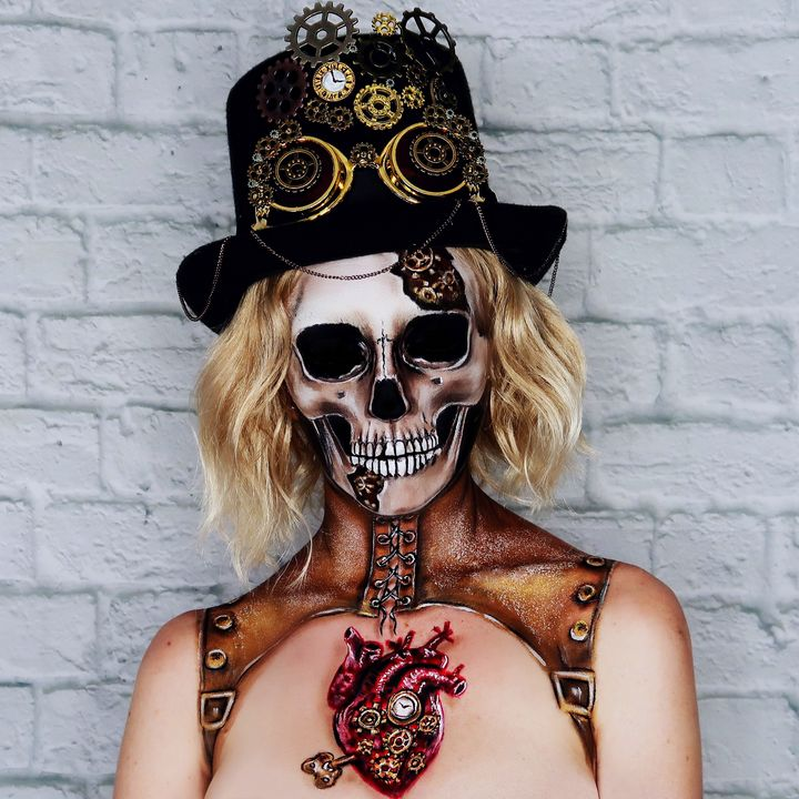 Steampunk Skull - Katie Cole Body Painting