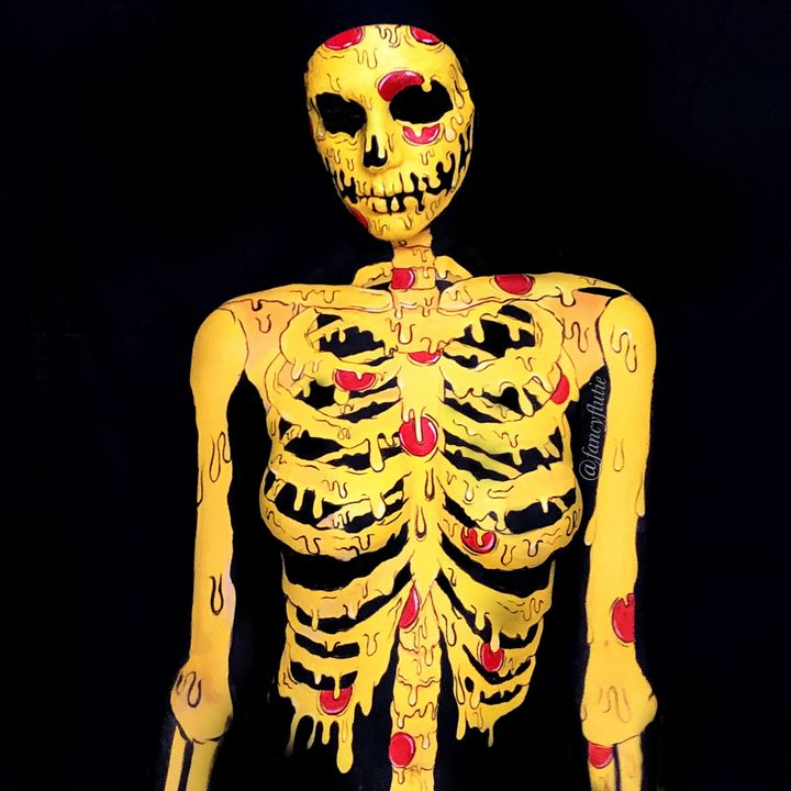 Pizza Skeleton - Katie Cole Body Painting